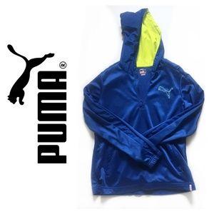 Blue Puma Half-Sip Sweatshirt with Yellow Hood